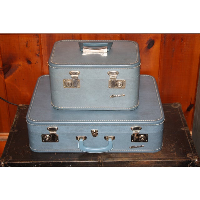 Image of Vintage 1960s Monarch Suitcase and Beauty Case