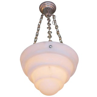 Modern Stepped Shade Alabaster Chandelier