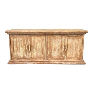 Distressed Rustic Chippy Style Yellow Sideboard / Credenza