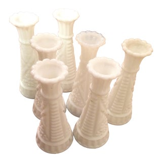 Small Milk Glass Vases - Set of 7