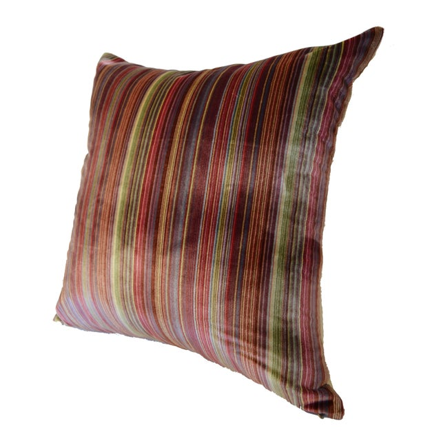 Scalamandré 100% Silk Velvet Rainbow Stripe Pillow - Image 3 of 10