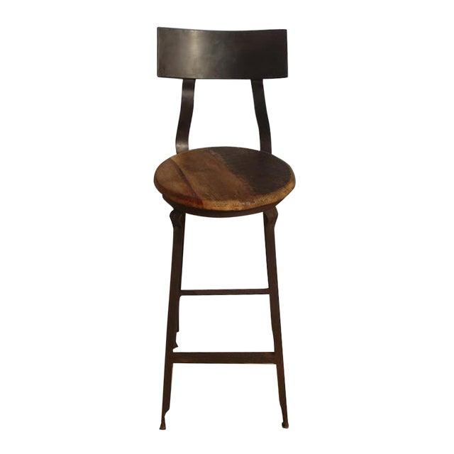 Image of Reclaimed Wood & Iron Barstool