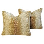 Image of Designer Antelope Fawn Spot Velvet Pillows - Pair
