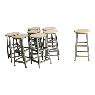 Industrial Counter Height Stools Vintage Patinated Steel