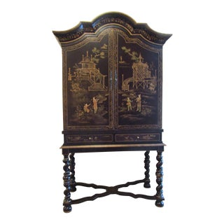 Chinoiserie Textured Black Paint & Gold Cabinet