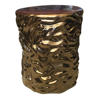 Glossy Gold Ceramic Stool