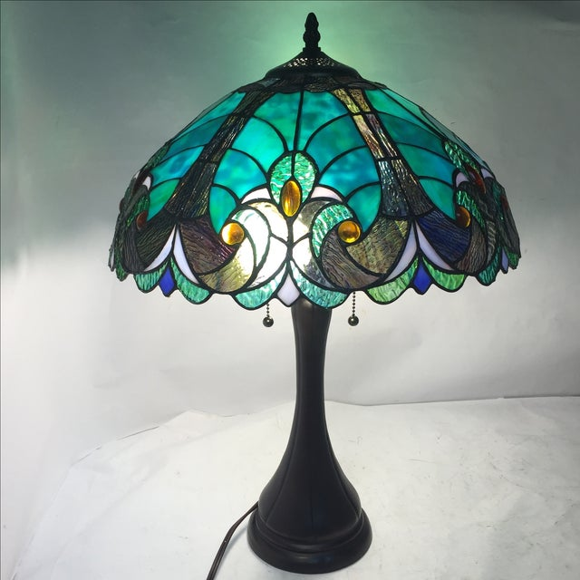 Teal Blue Tiffany Studios Style Lamp Chairish