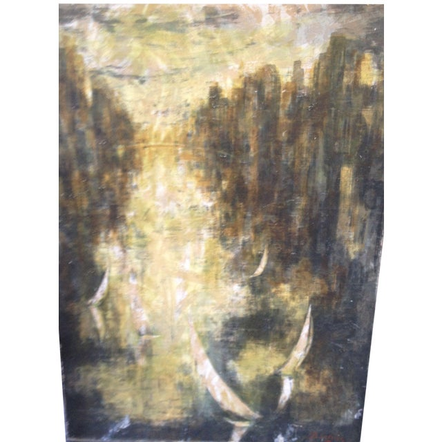 Vintage Abstract City Scene Painting - Image 1 of 3