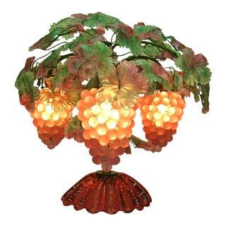 Rare Large Antique Art Deco Italian Venetian Murano Glass Grapes Centerpiece Table Lamp