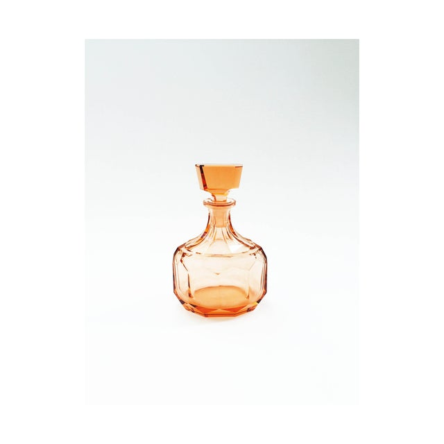 Image of Vintage Faceted Peach Glass Decanter