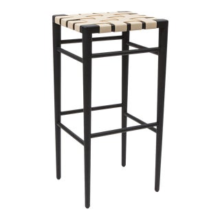 Smilow furniture ebonized walnut bar stool with leather webbed seat