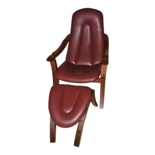 Leather Lounge Chair & Ottoman