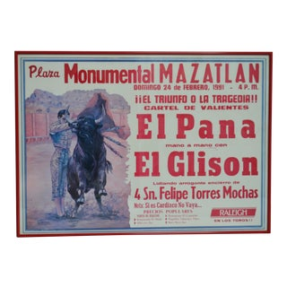 Vintage Typographical Bullfighting Poster