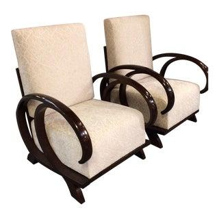 Italian Walnut Club Chairs - A Pair