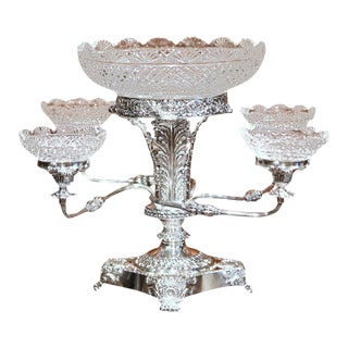 19th Century English Silver Plated & Cut-Glass Epergne Centrepiece - Set of 6