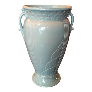 Art Deco Light Blue Ceramic Urn