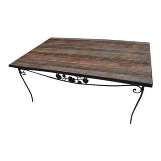 Modern Rustic Reclaimed Barnwood Floral Iron Base Coffee Table