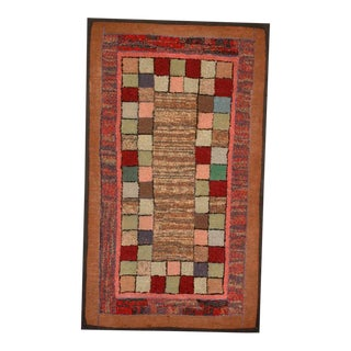1930s Mounted Blocks Hand-Hooked Rug