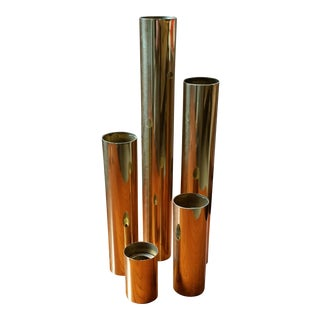 1970s Glam Tubular Brass Candle Holders - Set of 5