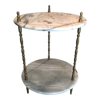 Vintage Marble & Brass Plant Table