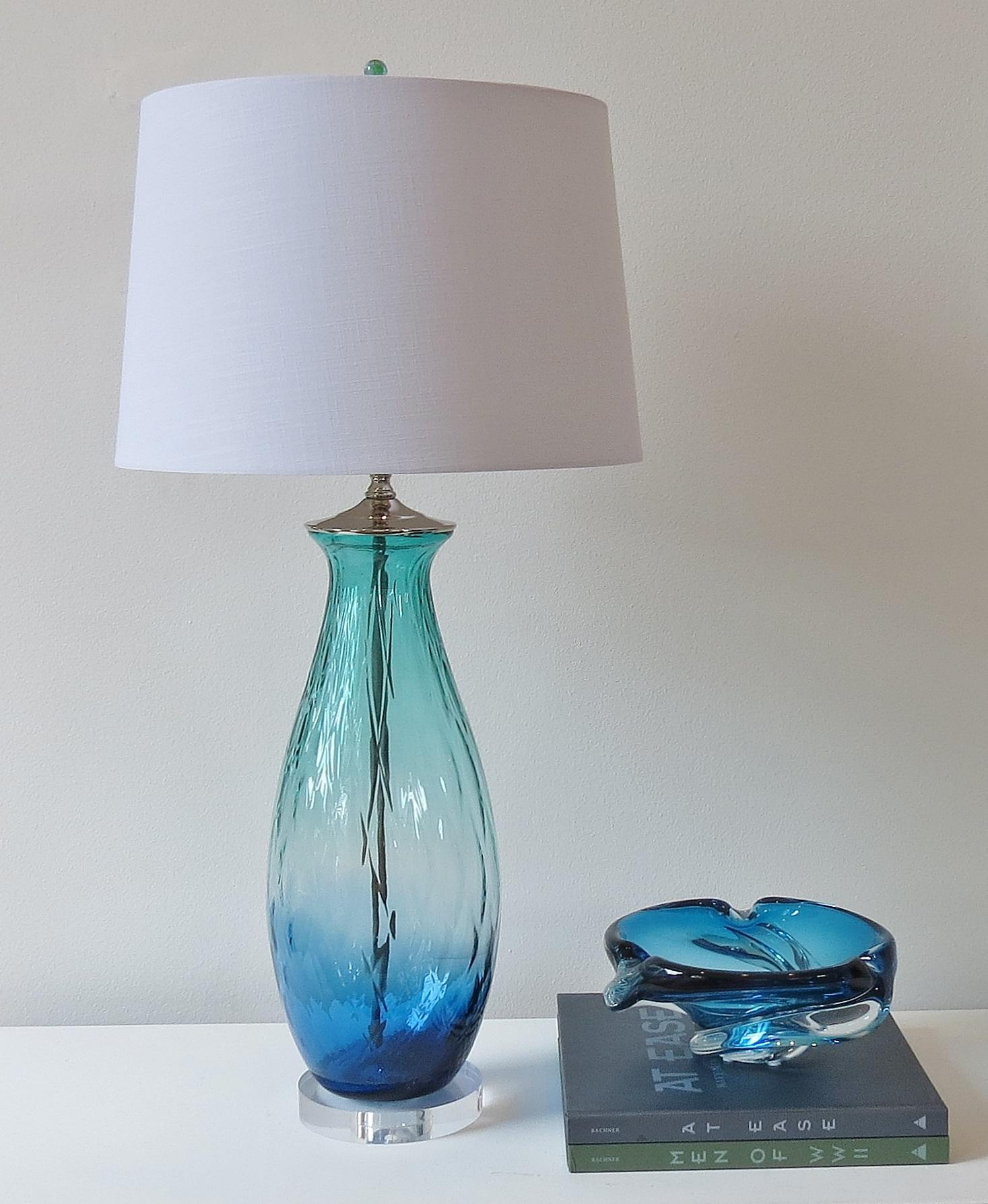 Ocean Blue And Green Glass Table Lamp   Image 2 Of 3