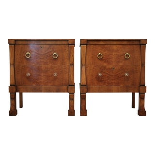 19th Century Burlwood Bachelor Chests / Nightstands - A Pair