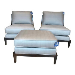 Lexington Brushed Silk Chair Pair & Ottoman