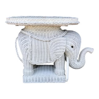 Vintage Wicker Elephant Garden Stool