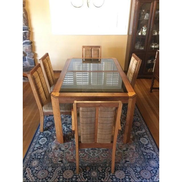 Vintage Oak Glass Top Dining Suite - Image 3 of 11