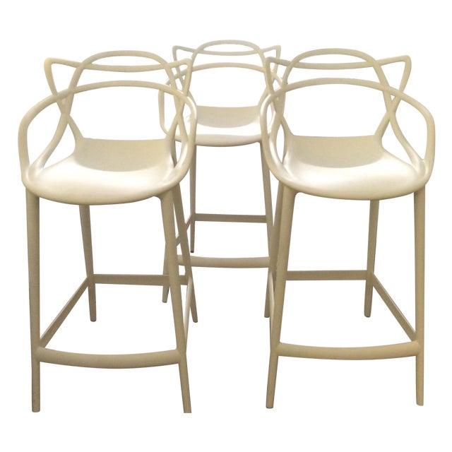 Kartell Masters White Bar Stools Set Of 3 Chairish