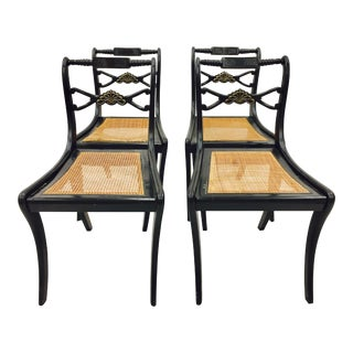 Antique Armless Wooden Dining Chairs - Set of 4