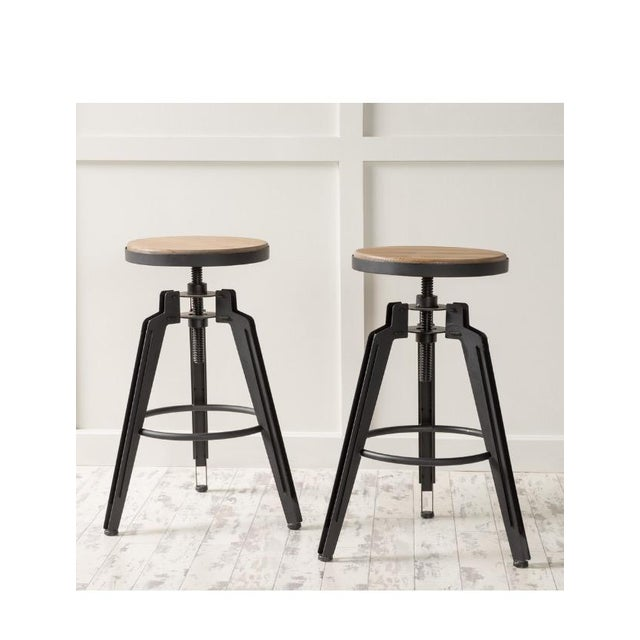 Industrial Adjustable Vintage Stool - Image 4 of 11