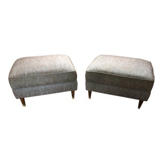 Vintage Mid-Century Modern Danish Upholstered Ottomans - A Pair
