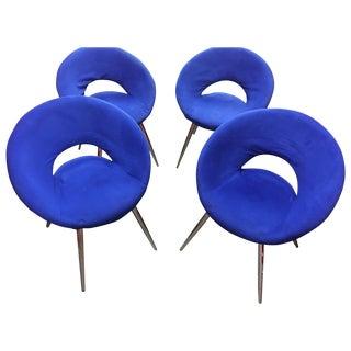 Oval Blue Velvet Modern Chairs - Set of 4