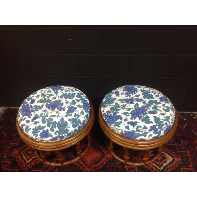 Image of Vintage Bamboo Ottomans - A Pair