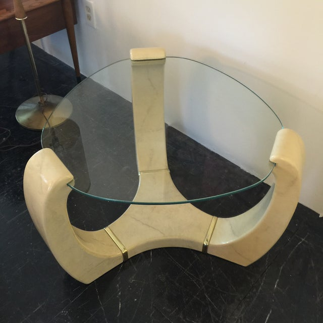 Image of Faux Marble Triskelion Scroll Side Table