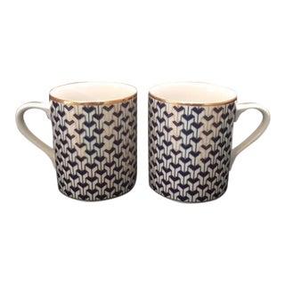 "Tiffany & Co. ""Manhattan Blue"" Fine China Coffee Mugs - a Pair"