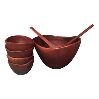 Danish Modern Teak Wooden Bowls - Set of 7