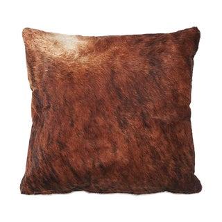 Rust Brown Brindle Cowhide Pillow