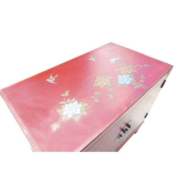 Oriental Red Vinyl Flower Side Table Cabinet - Image 6 of 7