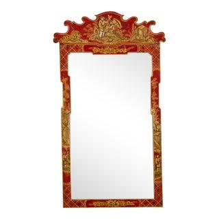 Antique English George II Scarlet Chinoiserie Framed Mirror circa 1850 (14 1/2″w x 25″h)