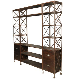 Entertainment Unit Made of Wood and Steel