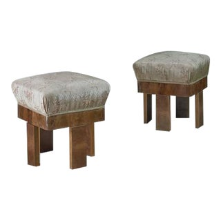 Pair of Art Deco Maple and Nutwood Ottomans, Italy, 1920s