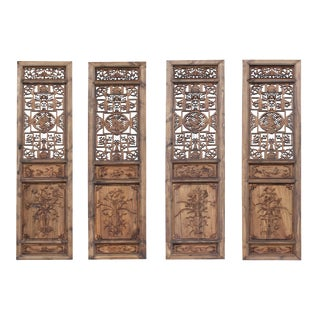 Set of 4 Vintage Chinese Eight Immortal Theme Wood Tall Panel Screen Divider