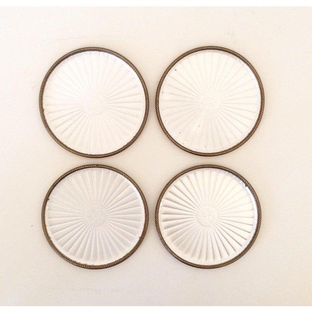 Vintage Pearl White Enamel Coasters - Set of 4 - Image 3 of 5