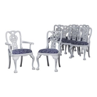 Set Eight George III Chippendale Style Painted Dining Chairs, Custom, England