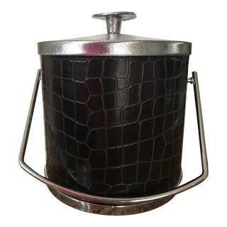 Mid-Century Faux Crocodile Skin Ice Bucket