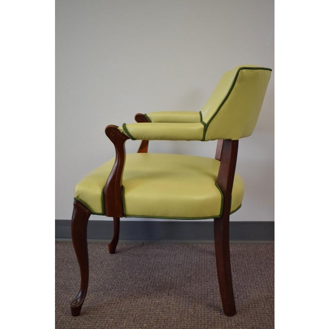 Elegant Set of (4) Celedon Green Leather W Hunter Green Piping Upholstered Bergere Chairs - Image 5 of 10