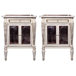 White Painted Marble-Top Cabinets by Jansen - A Pair