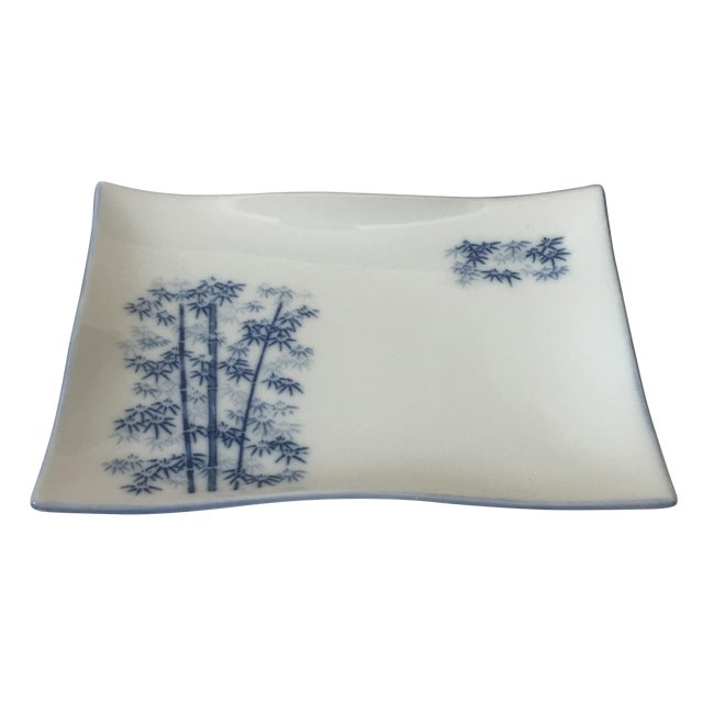 Chinoiserie Blue & White Bamboo Motif Catchall - Image 1 of 6